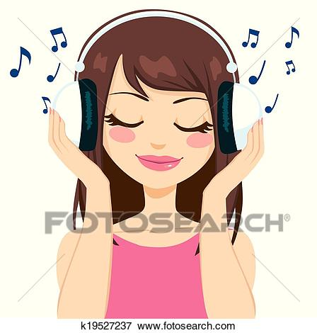 Woman Listening To Music Clip Art.