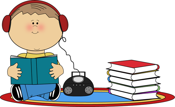 Boy Listening to Book on CD Player Clip Art.