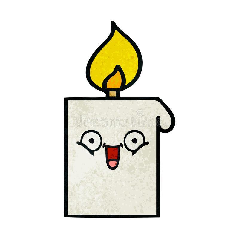 Cartoon Candle Lit Flame Church Cute Illustration Retro Freehand.