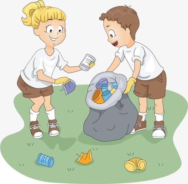 Cartoon Girl Boy Picking Up Trash, Cartoon Clipart, Boy.