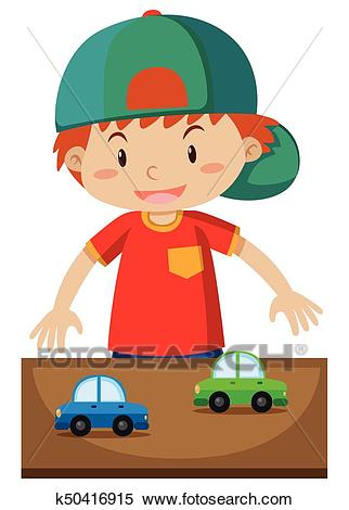 Little boy playing toy cars Clipart.