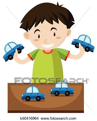 Little boy playing with toy cars Clipart.