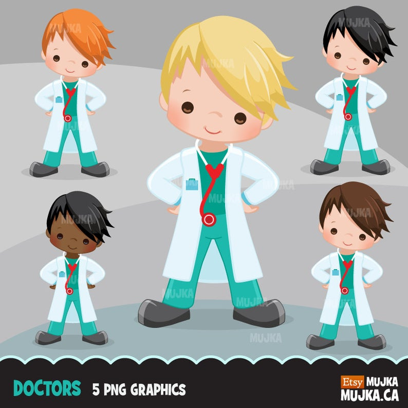 Doctor Clipart. Little Boy Graphics, medical, hospital, planner stickers,  embroidery, commercial use, chore chart, african american,.