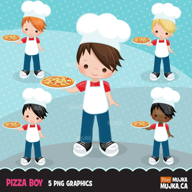 Pizza Chef Clipart. Little Boy Graphics, planner stickers, embroidery,  commercial use, chore chart, african american, baking, pastry, cook.