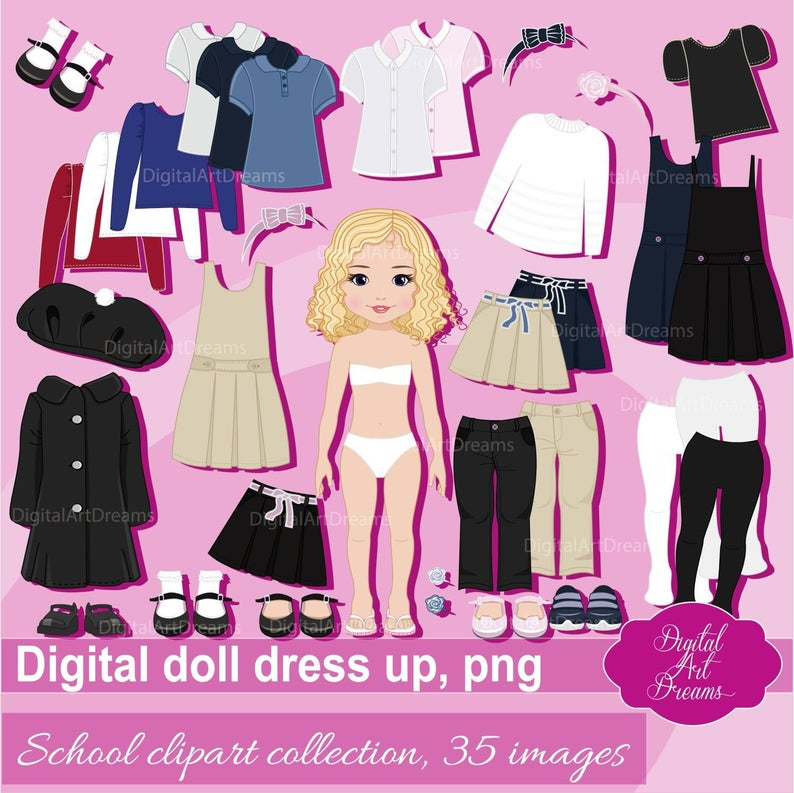 Paper Doll Clip Art, School Uniform Clipart, Little Girl Dress Up, Cute  Character Graphics, Digital Doll Constructor png, Skirt, Polo Shirt.