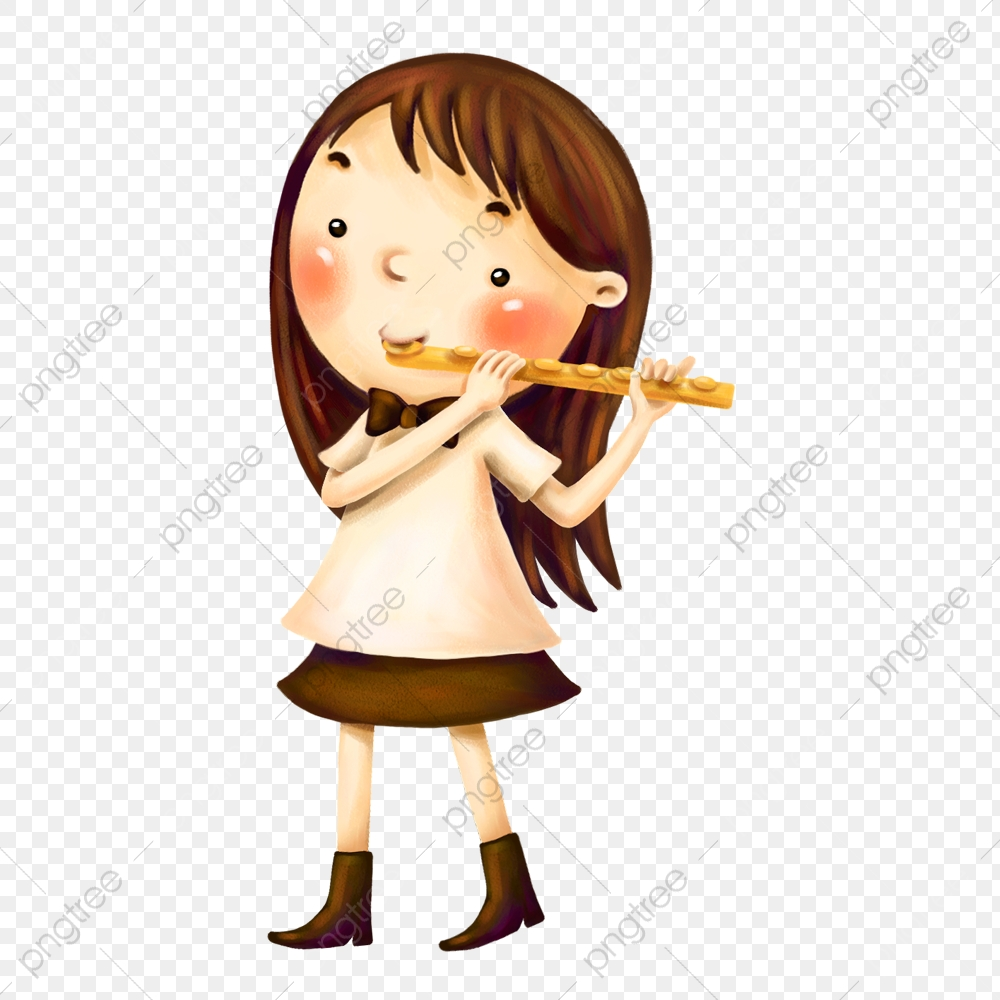 The Little Girl With A Flute, Flute Clipart, Little Girl, Flute PNG.
