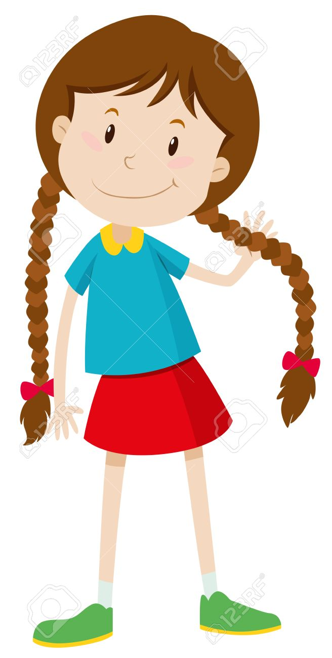 Little girl with long hair illustration.