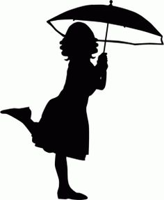 clipart little girl sitting with umbrella silhouette #11