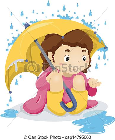 Clip Art Vector of Little Kid Girl Sitting Under the Rain with.
