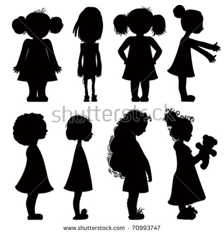 clipart little girl sitting with umbrella silhouette #18