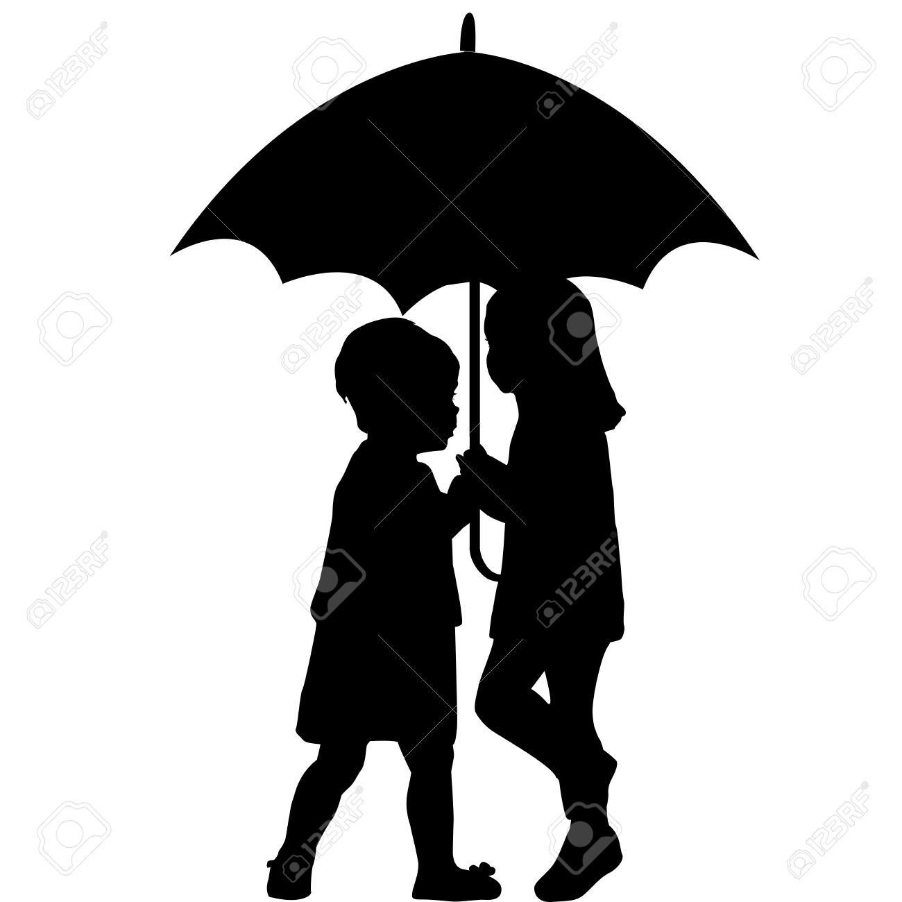 clipart little girl sitting with umbrella silhouette #17