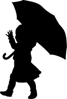 clipart little girl sitting with umbrella silhouette #16