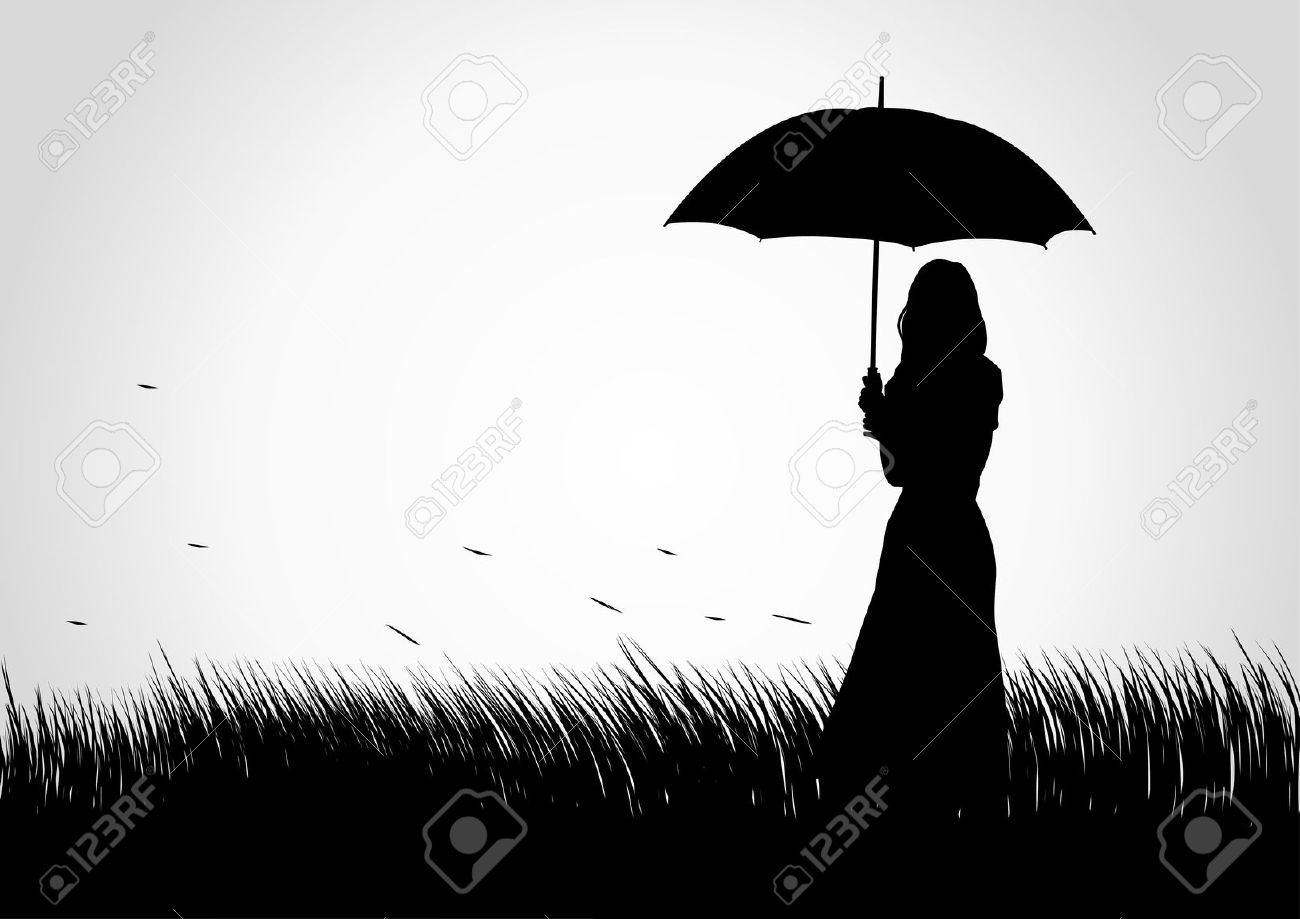 clipart little girl sitting with umbrella silhouette ...