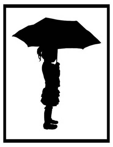Girl with Umbrella Silhouette PNG Transparent Clip Art Image.
