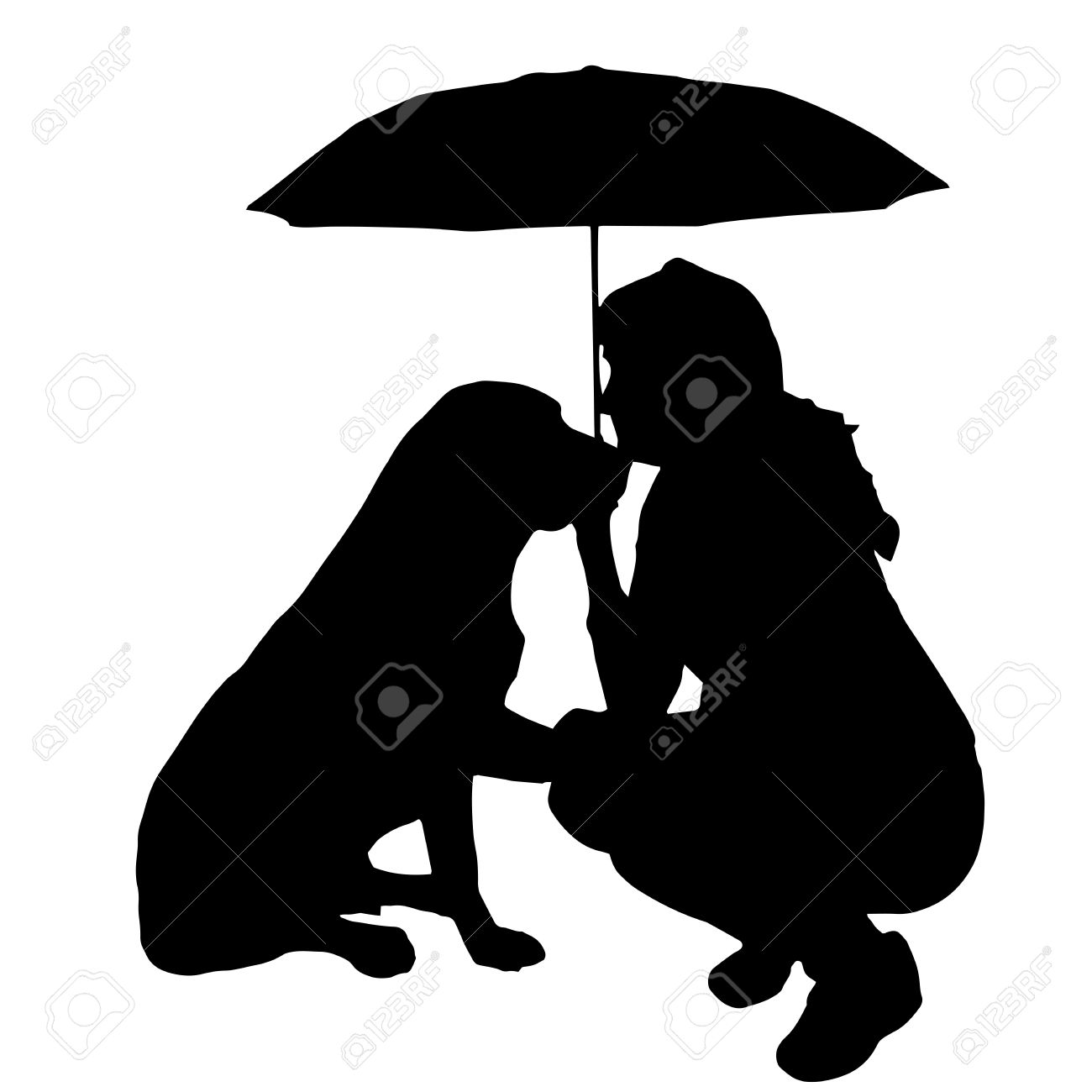 clipart little girl sitting with umbrella silhouette #12