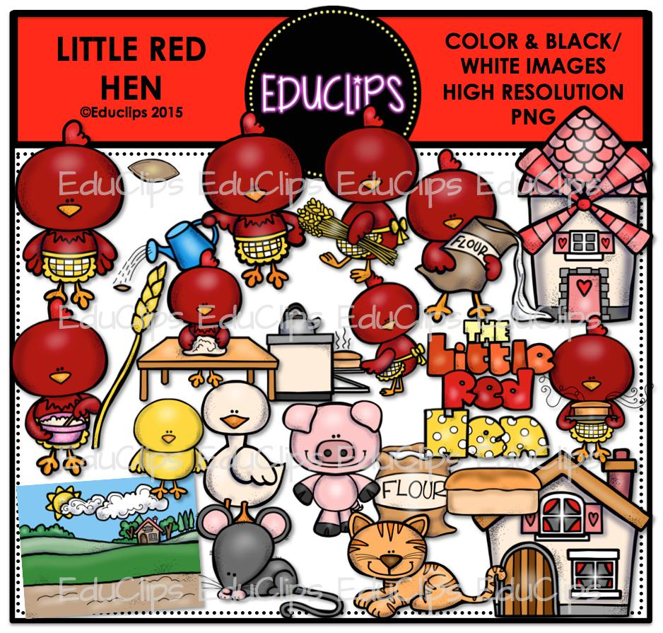 The Little Red Hen Clip Art Bundle (Color and B&W).