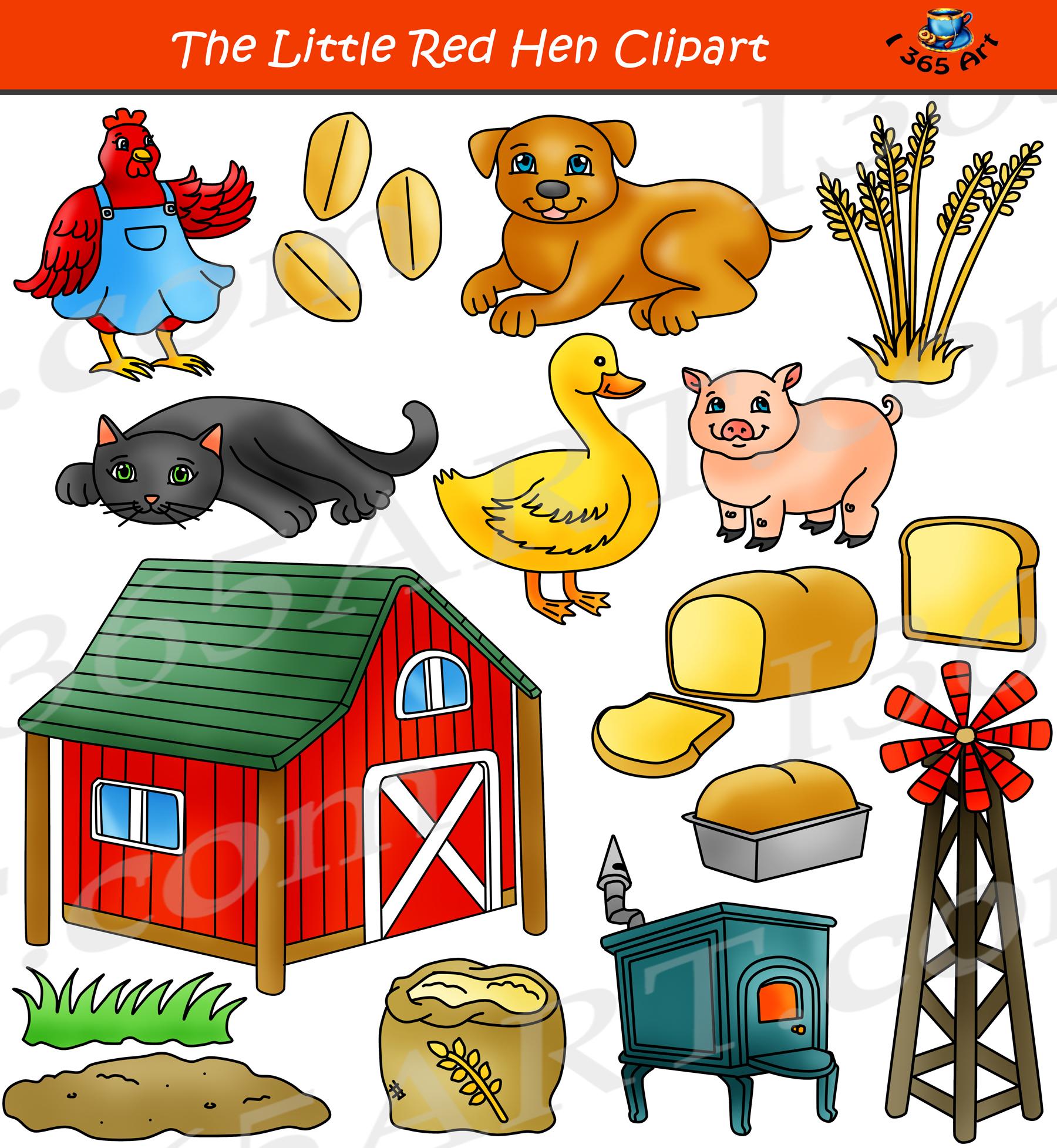 The Little Red Hen Clipart Set Children's Story Clip Art.