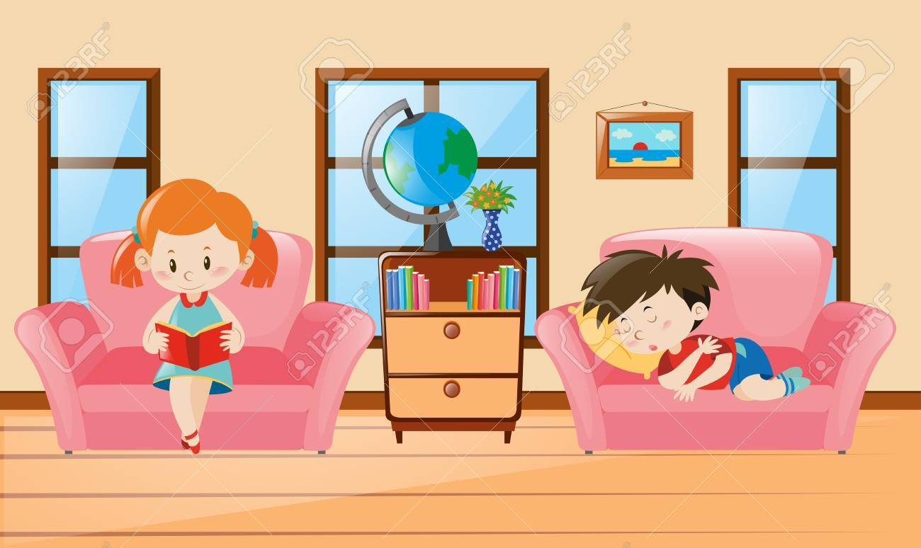 Boy and girl in living room illustration.