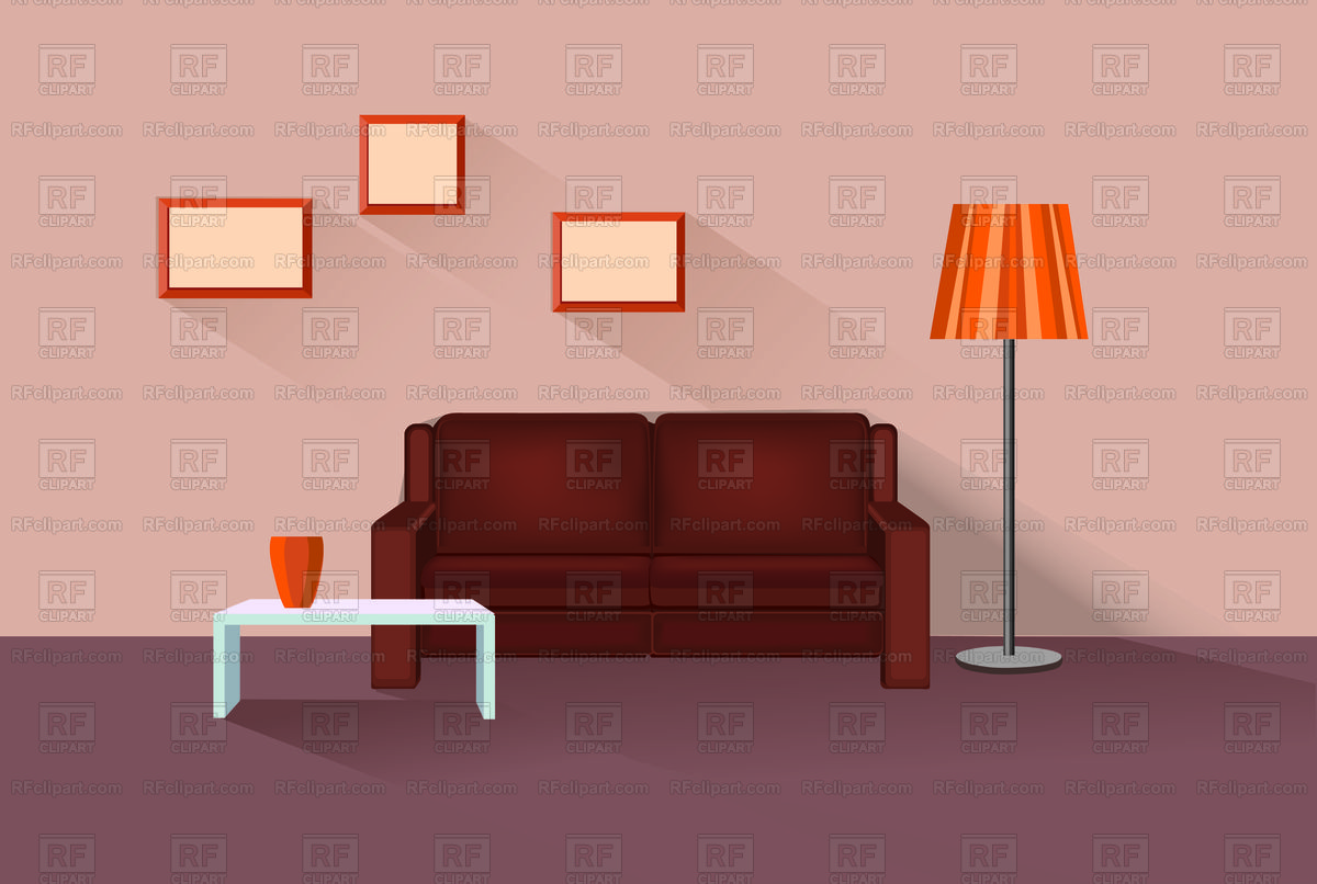 Home lounge interior. Living room furniture. Stock Vector Image.
