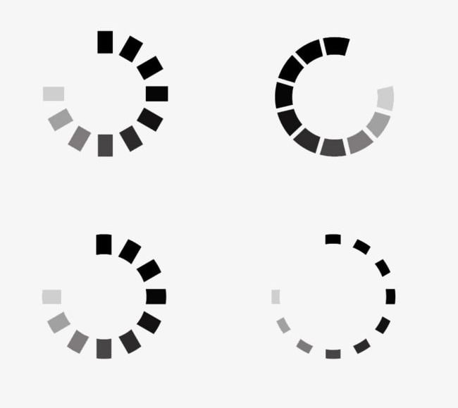 Four Black And White Loading Circle PNG, Clipart, Black.