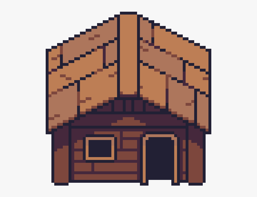Cabin Clipart Pixel Art.