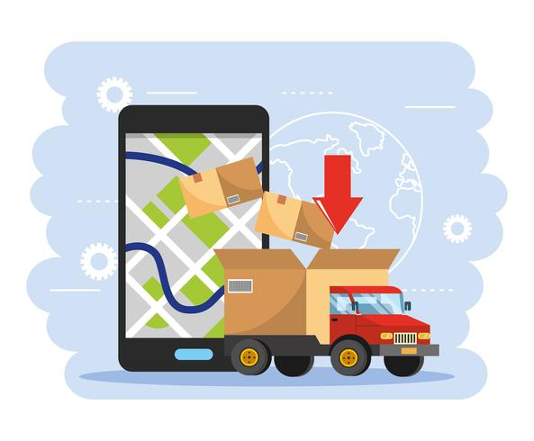Truck with box and smartphone gps tracking.