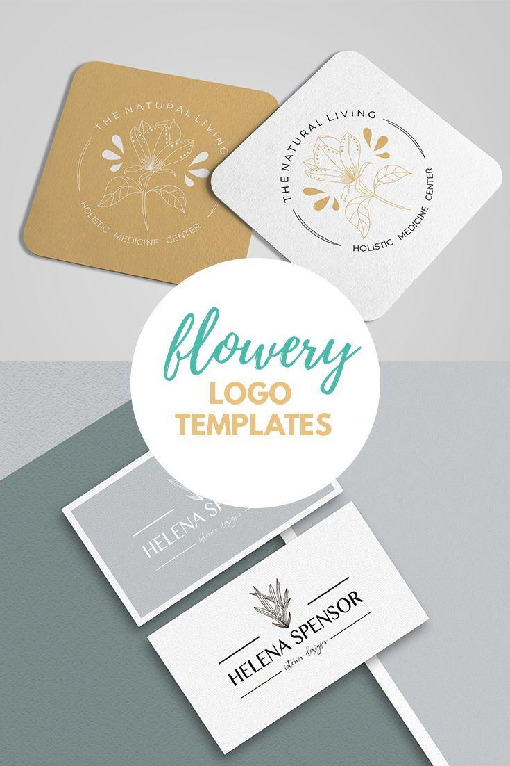 Flowery Logo Creator. Premade digital logo design. Flower and leaves.