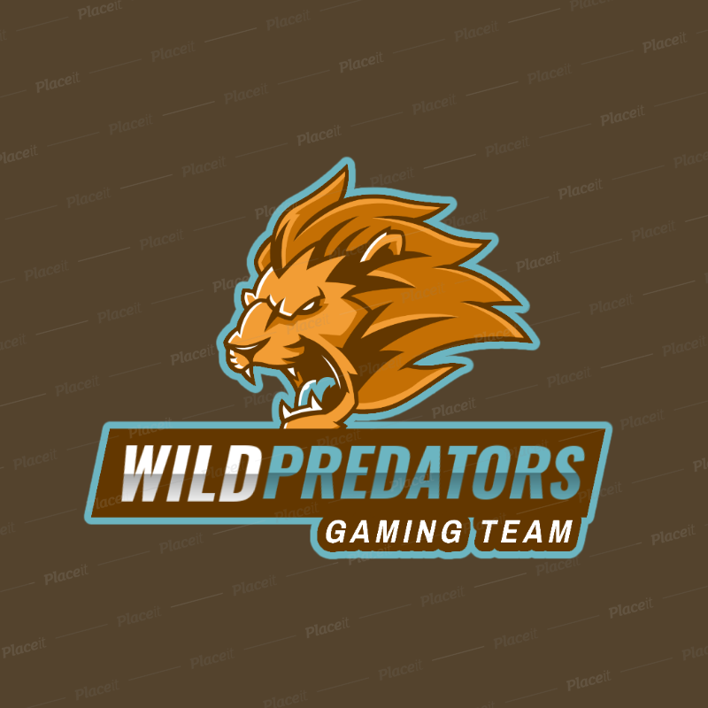 Online Logo Generator for a Gaming Team Featuring a Fierce Lion Clipart  2704g.