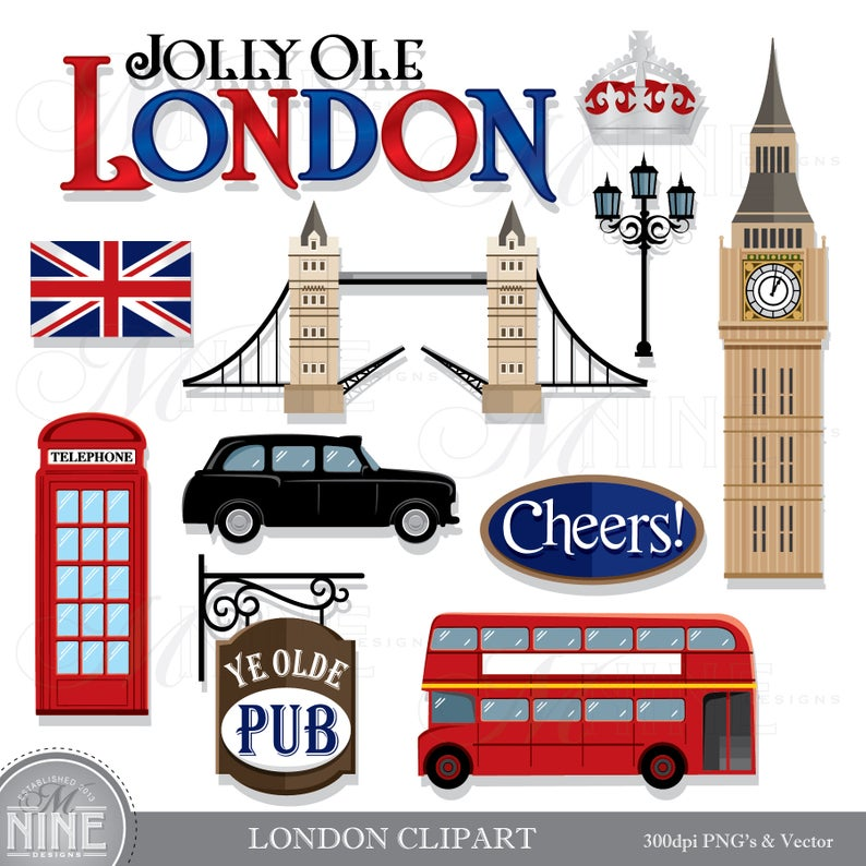 LONDON Clip Art / London Theme Clipart Download / London Clip Art Vector  Clip Art Big Ben Clipart London Taxi Bus.