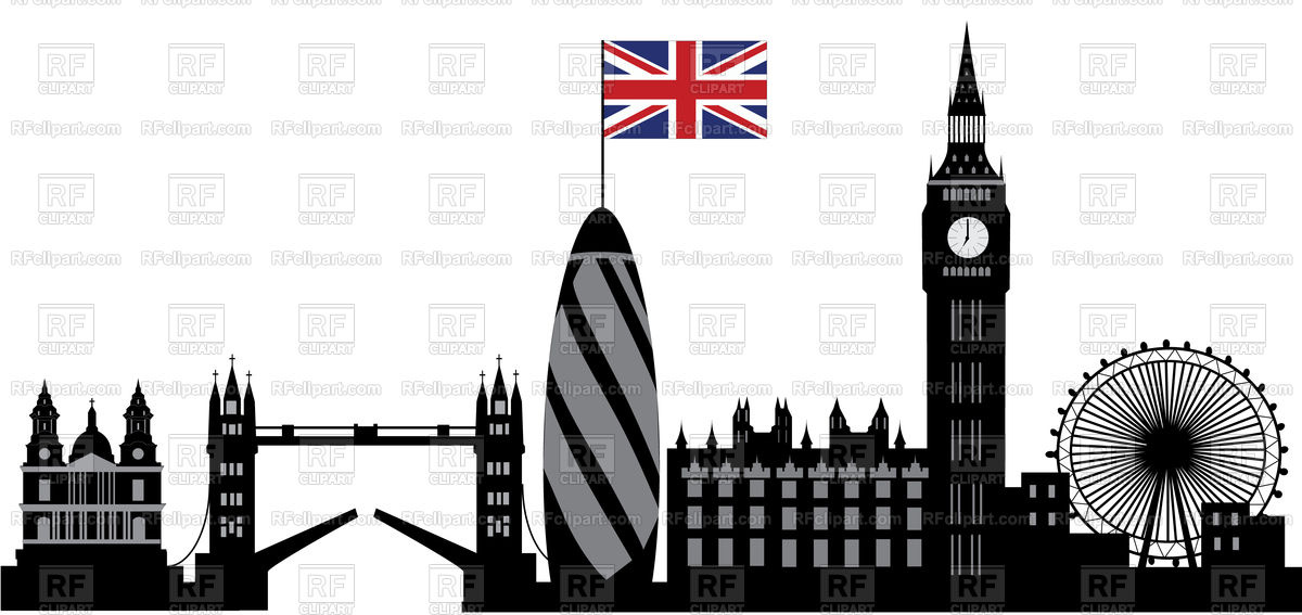 London skyline with bridge and tower Stock Vector Image.