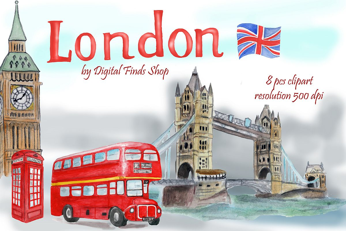 London symbols and landmark clipart Tower bridge, Big Ben.