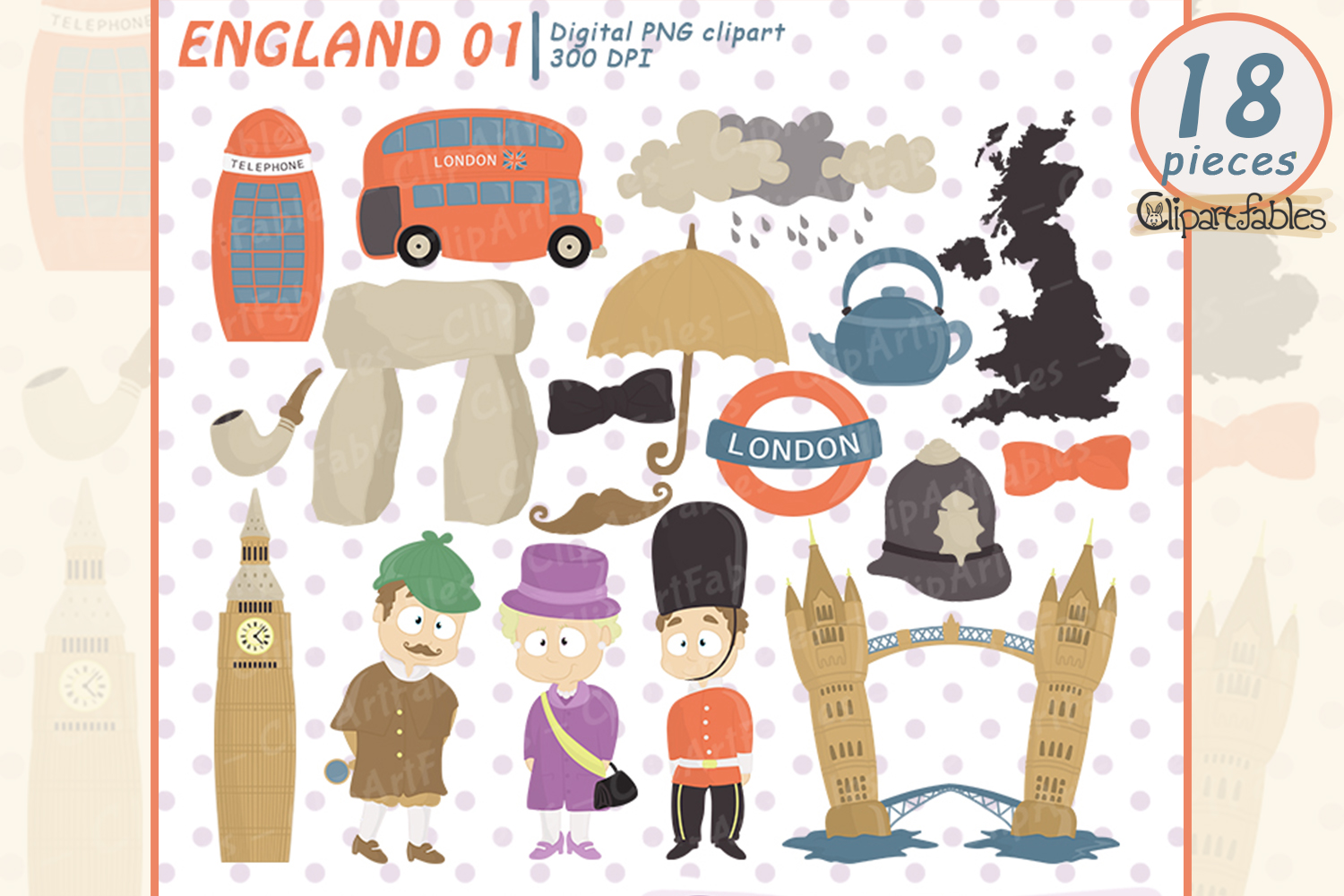 Cute London clipart, England clip art.