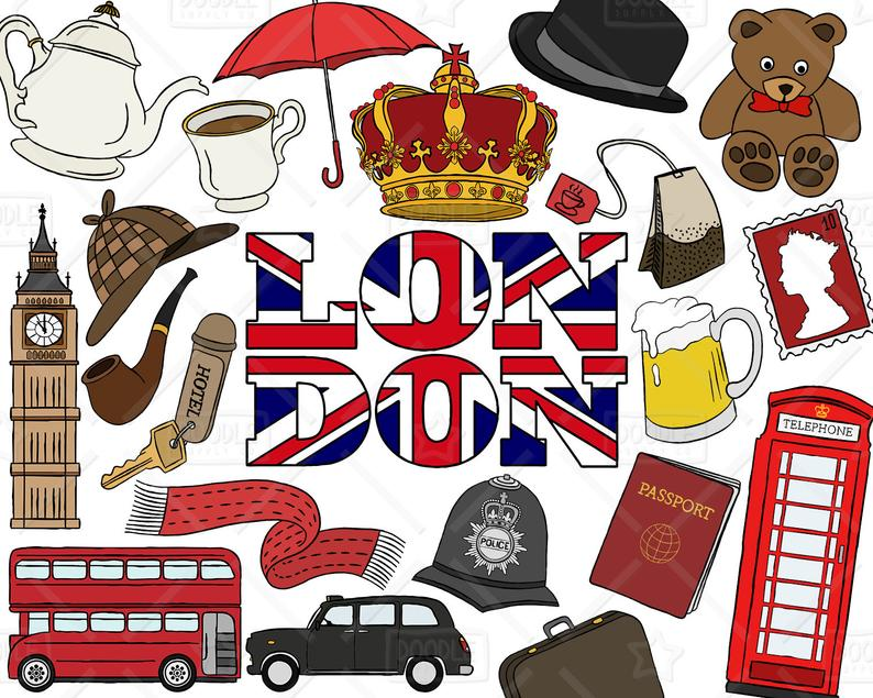London Clipart Vector Pack, British Clipart, England, Travel Clipart,  London Graphics, British Vectors, London Stickers, SVG, PNG file.
