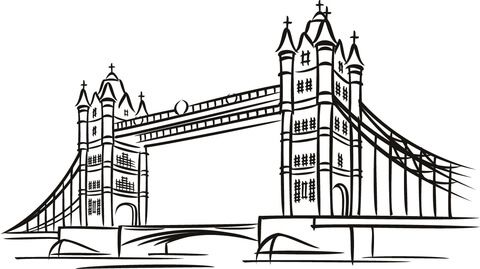Tower Bridge in London Coloring page.