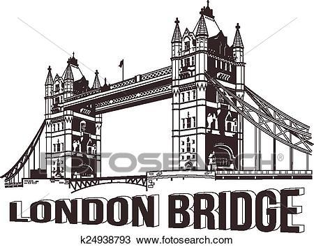 Vector tower bridge Clipart.