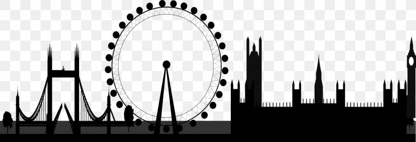 London Eye Clip Art, PNG, 1525x522px, London Eye, Black And.