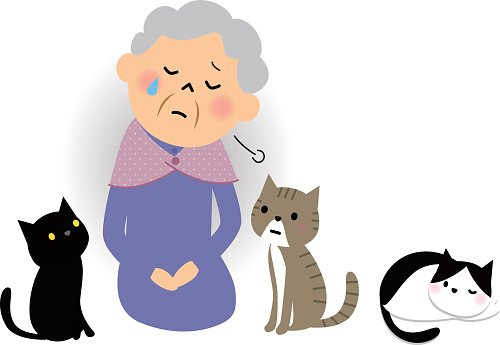 The senior citizen who feels loneliness Clipart Image.