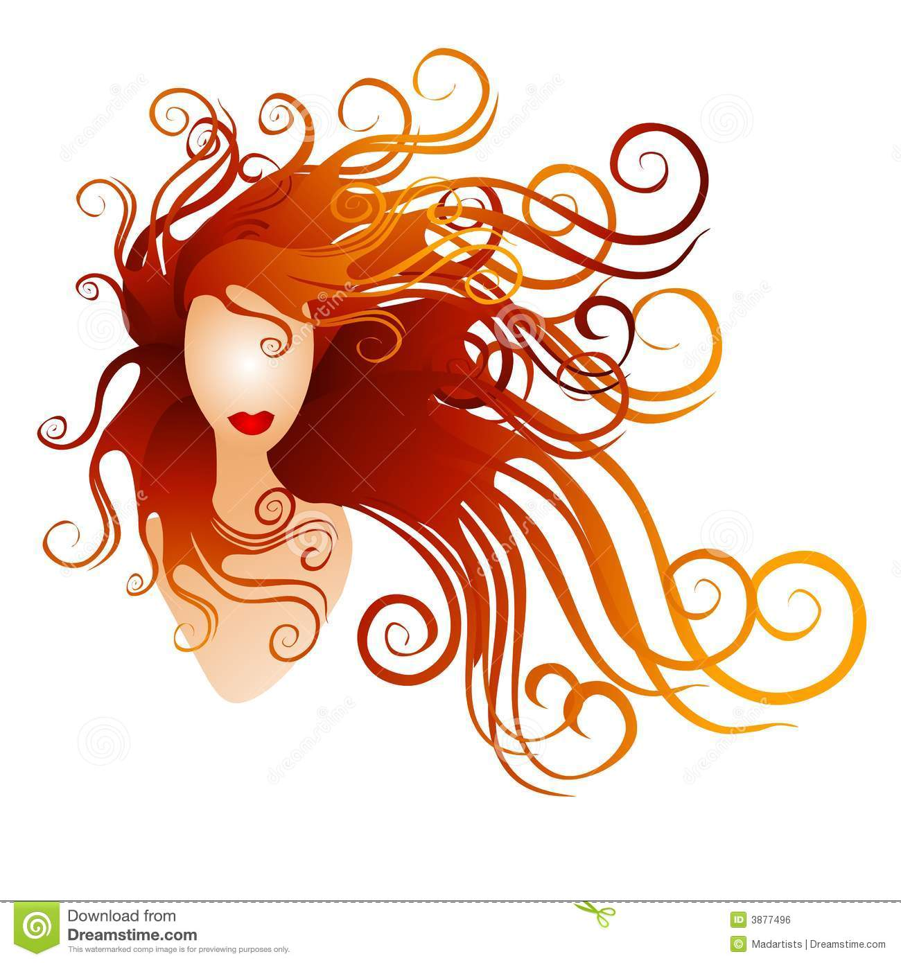 Woman With Long Red Flowing Hair Stock Illustration.