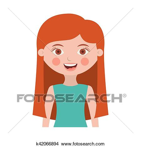 Half body girl with long hair Clipart.