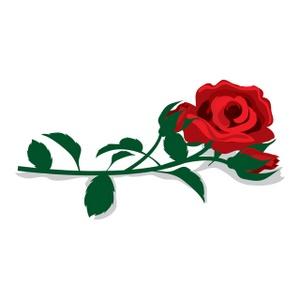 Long Stem Red Rose Clipart.