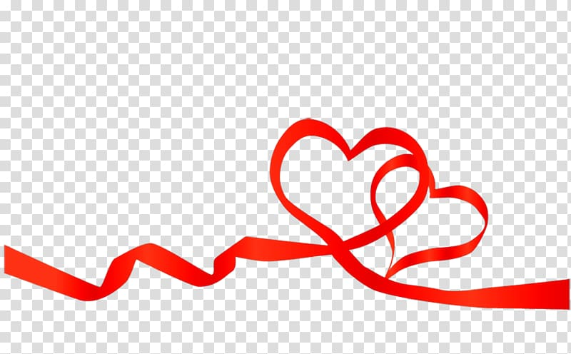 Red ribbon Heart , love background transparent background.