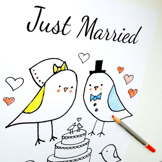 Wedding Coloring Page Just Married Love Birds Theme.