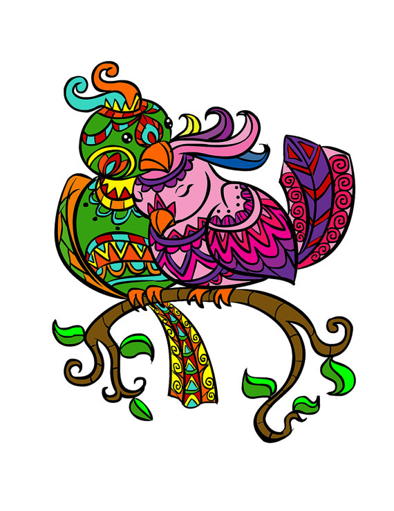 Love Birds Adult Coloring Book Page for Adults Love Bird.