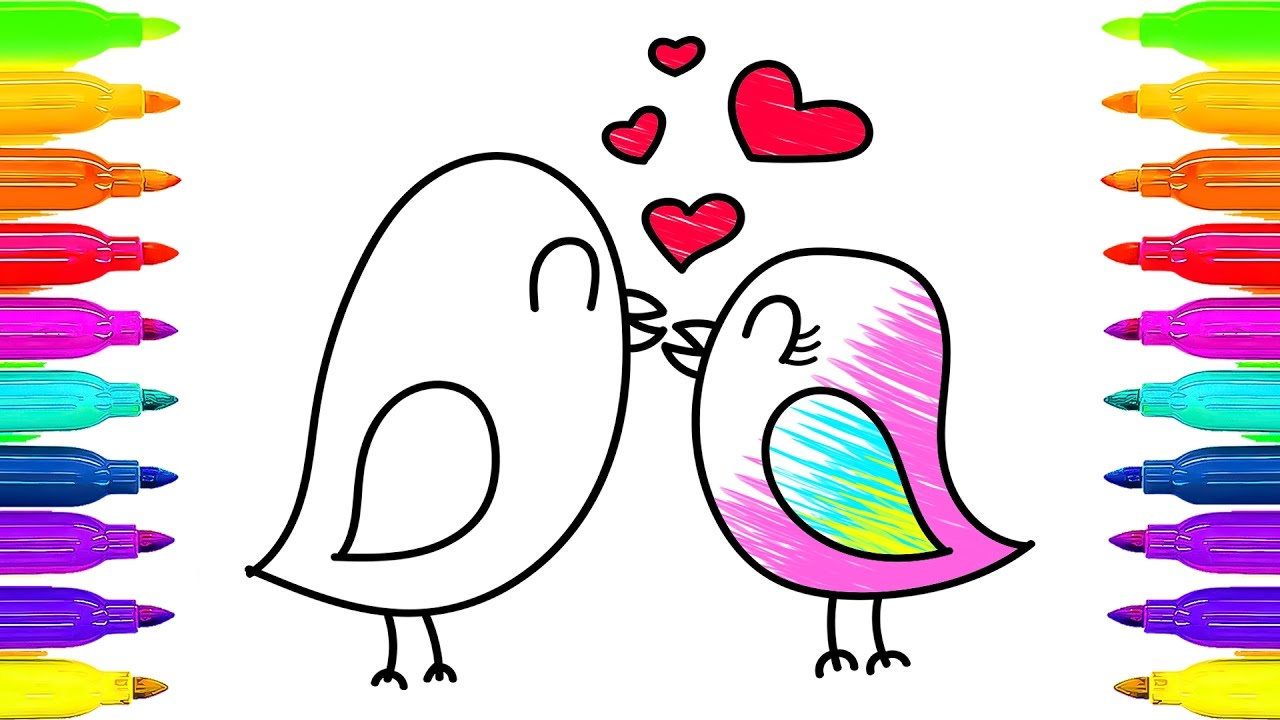 Love Birds Coloring Book and Drawing.