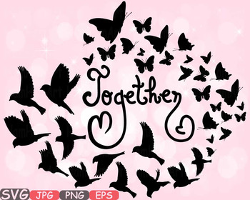 Together Family birds Butterflies butterfly love clipart heart Valentine\'s.