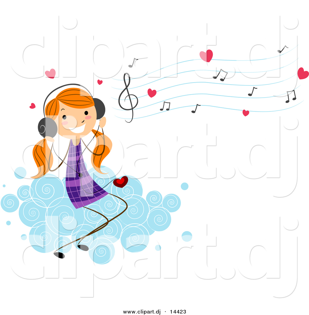 Cartoon Vector Clipart of a Valentine Stick Figure Girl.