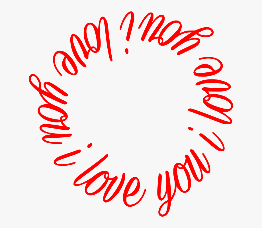 I Love You Text Love Circle Vector Clipart.