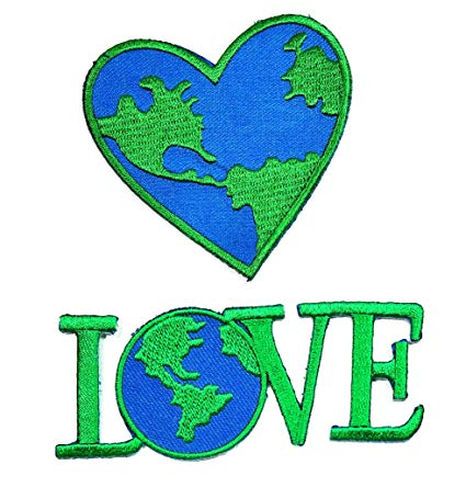 HHO Set 2 Piece Heart Love Save World Earth Patch for Bags Jackets Jeans  Clothes.