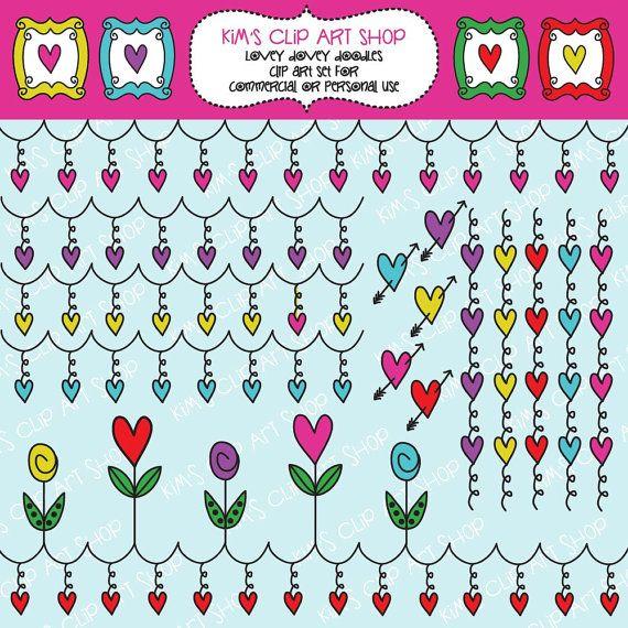 Lovey Dovey #Valentine #Doodles #ClipArt by #kimsclipartshop.