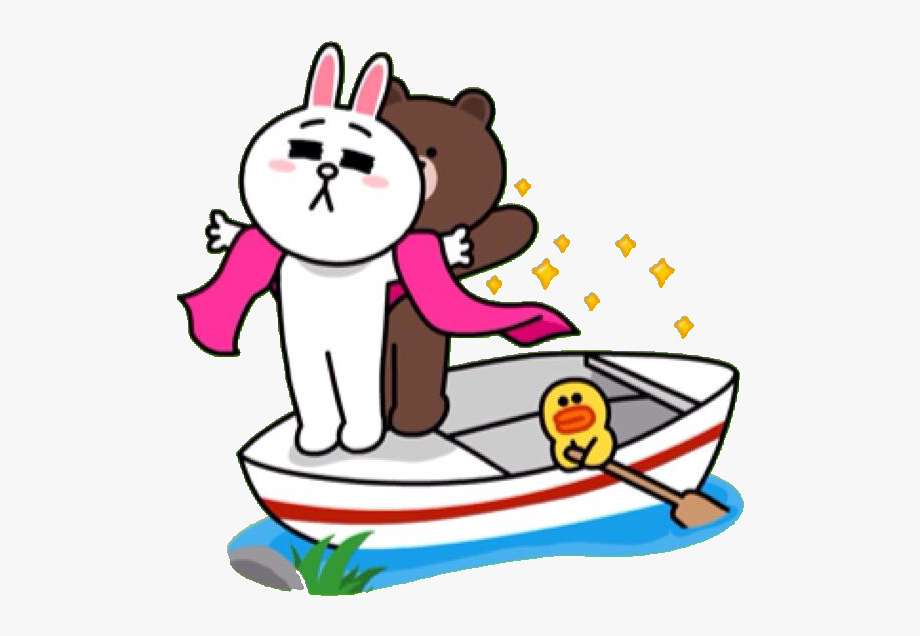 Line Stickers Brown And Cony Clipart , Png Download.